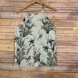Loft Lily and Swallow Black White Gray Print Top